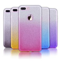 Glitter Gradient híbrido Bling Shiny Cover 3in1 TPU + PC caso colorido para Iphone X 8 7 Plus ZTE zmax Pro Samsung Note 8 S8 Plus DHL SCA320