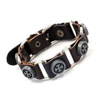 Wholesale Roping Belt Buckles - Fashion Vintage Designs Cross Leather Bracelets Punk Rock Style Belt Buckle Link Bracelets Handmade Charm Bracelets For Men Women Jewelry