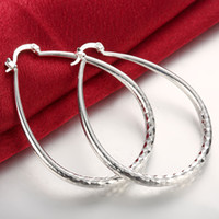 Wholesale Large Round Fashion Earrings - 925 Silver Earrings Fashion Large Oval Women's Hoop Earrings Prismatic Creole Big Round Earrings New Style Silver Jewelry Wholesale Price