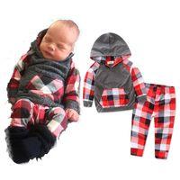 canada vintage fashion baby boy hoodies baby girl sweatshirts cotton toddler pants plaid kids 2pcs autumn