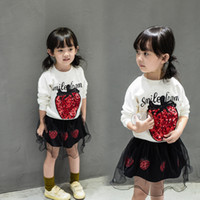 Wholesale Strawberry Cotton Shirts - Children's Girls Outfits lovely strawberry long sleeved T shirt + short skirt two pcs set High quality for girls