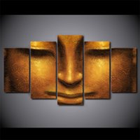 Wholesale Face Picture - 5 Pcs Set Framed HD Printed Creative Face Of Golden Buddha Picture Wall Art Canvas Decor Poster Canvas Abstract Oil Painting