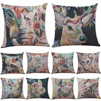 Wholesale Purple Pillowcases - Watercolor Monkey Cow Deer Linen Cushion Cover Home Office Sofa Square Pillow Case Decorative Cushion Covers Pillowcases Without Insert