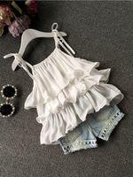 Wholesale Korean Halter Tops - 2016 Summer Korean children's clothing girls suit Chiffon cake sling + pants 2pcs pearl flower halter top denim shorts kids Set