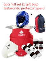 Wholesale Wtf Taekwondo - Wholesale- Free shipping Adult kids taekwondo thickening wtf taekwondo protection 6pcs TKD chest protector karate helmet 1 gift bag