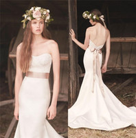 Wholesale Wedding Mermaid Dress Mikaella - Sexy Mikaella Mermaid Wedding Dresses Style 2016 Spring Vintage Lace Plus Size White Ivory Long Satin Beach Country Bridal Gowns Novia