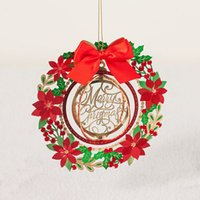 Wholesale Ornament Hangers - Wishmade Happy New Year Merry Christmas Greeting Card Postcard Message Paper Christmas Tree Hanger Ornament With Envelope Gx 6165
