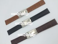 Wholesale Stainless Crocodile - 20mm New leather Black Brown Dark brown crocodile grain strap watch band with silver stainless steel clasp for watch band