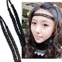 Wholesale Wide Bohemian Headband - Fashion WIG HEADBAND fishtail braided New bohemian wigs braid thick wide headband popular fashion hair accessories