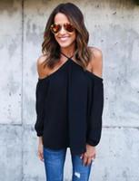 ingrosso nero dalle spalle-Maglietta all-ingrosso Donna Tops per le donne Top nero in chiffon rosa Camicia per donna estate 2016 Sexy Blusa Plus Size