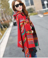 Wholesale Scarfs For Women Hood - DHL free 20pcs lot 2016 autumn winter fashion national scarf and thicken with hood hooded Bohemia wind cloak shawl for women 135-175CM