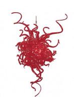 precio de la boda de iluminación al por mayor-Decoración de la boda Lámpara de iluminación LED moderna Precio barato 100% Boca soplada Borosilicato Murano Lámpara de cristal rojo
