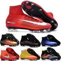 Wholesale Womens Cheap Football Boots - Cheap 100% Original Quality Mercurial Superfly FG CR7 Kids Soccer Shoes Womens Girls Magista Obra Outdoor Football Boots Hypervenom Cleats