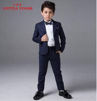 Wholesale Costume Mariages - Wholesale-Kids Children Black Solid Formal Boys Wedding Tuxedo Suits boy Blazer Suit Mariages Perform Dress Costume Enfants Garcon Blazers