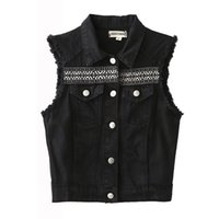 Wholesale Trendy Down Jackets - Wholesale-Trendy Back Ethnic Embroidery Geometry Pattern Turn-down Collar Sleeveless Burr Tassel Vest Casual Jacket Women Coat Tops Black