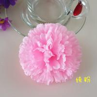 Wholesale Wholesale Silk Carnations Heads - 50Pcs 9CM Artificial Carnation Decorative Silk Flower Head For DIY Mother's Day Flower Bouquet Home Decoration Festival Supplies Party Deco