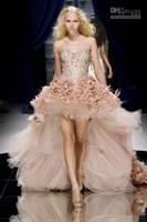 ingrosso abiti da sera di stile basso basso-Il vestito da sera della piuma dell'innamorato di 2016 nuovi stili con i vestiti da partito lunghi degli abiti da promenade di cristallo di lunghezza e dei cristalli alti bassi