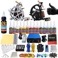 Wholesale Tattoo 13 Grips - Solong Tattoo Professional complete tattoo kit 14 Colors power supply+poot pedal+2 alloy grips+ tattoo needles TK203-13 free shipping