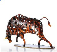Wholesale Crafts Home Decorations - Tooarts Metal Sculpture Weaving Cattle Red Iron Sculpture Abstract Figurine Modern Art Home Decor Animal Craft Gift