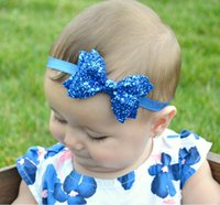 Wholesale Kids Hairband For Christmas - New Design Sequin Glitter Hair Bow For Baby Girls Kids Elastic Hairband Hair accessory Hair Clips Grips 7 color