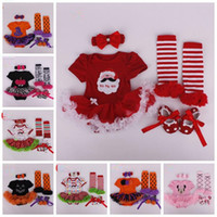 Wholesale Tutu Shoes For Babies - Halloween Costume Pumpkin Baby Clothing Set 4pcs Romper+legging+shoes+headband Infant Toddler Boys Girls Clothes for 0-2Y b1388