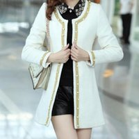 Wholesale Trench Coats Rounded Collar - Spring Fashion New Korea Womens Pearl Round Collar Jackets Female Brand Wool Blend Slim Fit Long Coat Beads Jacket Trench
