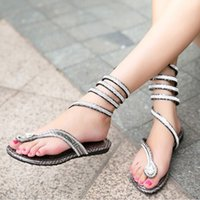 Wholesale Shape Up Sandals Women - Women Sandals Summer Style Crystal Rhinestone Gladiator Sandal Snake Shape Strap Flat Heel Shoes Flip Flops TX0308 salebags