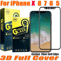 Wholesale Glass Phone Front - For iphone X 8 7 6 Plus 3D Carbon Fiber soft edge Full cover Tempered Glass phone Screen Protector Film with retail package