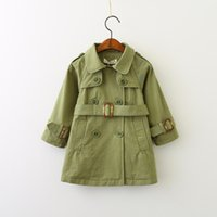 Wholesale Double Breasted Jacket Baby - Autumn 2017 Baby Girls Double Breasted Trench coats Kids Girls Fashion Casual Outwear Girls Jackets baby clothing