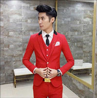 Wholesale Korea Hot Pants - Wholesale- New Fashion Hot Sale Brand 2017 men's casual high quality easy care easy care suit male slim korea style blazers vest and pants