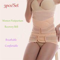 Wholesale Pregnant Woman Belly - Wholesale- 3Pieces Set Postpartum Belly Band for Pregnant Women Breathable After Pregnancy Belt Belly Binding Postpartum Bandage Waist Belt