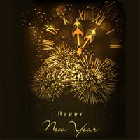 ingrosso fotografia sfondo natale di natale-Sfondo di Happy New Year Fotografia Digital Stampato scintillanti fuochi d'artificio Gold Clock Christmas Party Studio fotografico sfondo