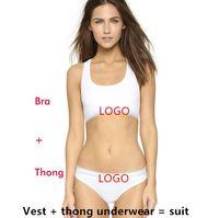Wholesale Cotton Shorts Underwear For Women - Brand designer sport Tracksuit for women Summer Sleeveless Suits for Women 2 Piece set Women short swimwear suit Vest + thong underwear
