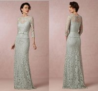 Wholesale New Arrival Dress For Mother - Hot New Arrival Sheath Long Mint Lace Mother of the Bride Groom Dresses With Sleeves Sash For Weddings