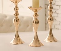 Wholesale Silver Candle Stick Holders - Hotsale 3pcs set silver and gold Mental wedding candle holder set , peacock candle holder , flower candle holder,candle stick