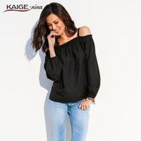 Discount open shoulder shirts - Wholesale- Women Blouse 2017 Spring Top Pure Colour Long Sleeves Plus Size Women Clothing Chic Off The Shoulder Fashion Casual Shirts 98017