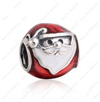 Wholesale Diy Santa Accessories - Red Enamel Jolly Santa Claus Charms Bead DIY Brand Logo Bracelets 925 Sterling Silver Christmas Beads For Jewelry Making Accessories HB395