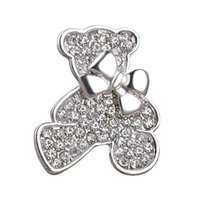 Wholesale Small Brooches For Wedding - 2016 Vintage Jewelry Small bear Plated Brooch For Women Crystal Rhinestone Animal Badge Broche Suit Scarf Pin Brooches zj-0903666