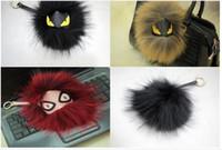 ingrosso accessori per capelli palla di pelliccia-Piccola borsa a forma di mostro pendente ornamenti in pelliccia portachiavi per auto portachiavi con accessori per capelli