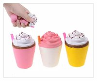 Wholesale apples coffee - 2018 Hot Arrival Ice Cream Squishies Coffee Cup Squishy Toys Slow Rising Cute Kid Toy Scented Soft Squeeze Gift Phone Straps Free