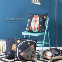 100% Cotton outer space fabric - 45cm Cartoon Cat Play in outer space Cotton Linen Fabric Waist Pillow inch Hot Sale New Home Decorative Sofa Car Back Cushion