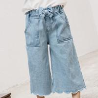 Wholesale Korean Baby Harem Pants - Everweekend Girls Bow Pocket Denim Harem Pants Cute Baby Blue Color Pants Lovely Kids Western Korean Fashion Autumn Winter Pants
