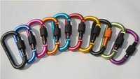 Wholesale Types Girl Backpacks - High quality bold 8 cm type D mountaineering buckle hung with a lock nut backpack buckle hooks to aluminum alloy buckle