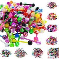 Wholesale 100pcs Assorted Color Acrylic Balls cones UV Tongue Ring Navel Belly Ring Eyebrow Ring Steel Laret Ring Body Piercing Jewelry