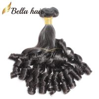funmi lose welle großhandel-Bella Hair® 8A Funmi Baby lockiges peruanisches Haar Frühlingslocke lose Welle natürliche schwarze Haarverlängerung unverarbeiteter Haareinschlagfaden Freies Verschiffen