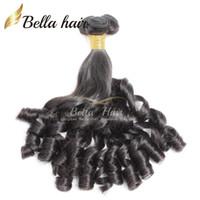 funmi saç ücretsiz gönderim toptan satış-Bella Hair® 8A Funmi Bebek Kıvırcık Perulu Saç Bahar Kıvırmak Gevşek Dalga Doğal Siyah Saç Uzatma Işlenmemiş Saç Atkı Ücretsiz nakliye