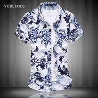 ingrosso lista marrone-Camicia a maniche corte casual all'ingrosso-nuovi uomini camicia floreale grandi cantieri boutique di moda business maschile 2016 inserzione blu / marrone