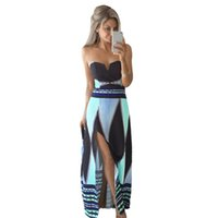 Wholesale Color Block Maxi - Wholesale- 2017 Sexy Women Strapless Maxi Dress Floral Print Color Block Tube Dress Backless Split Slim Beach Long Dress Robe Longue Femme