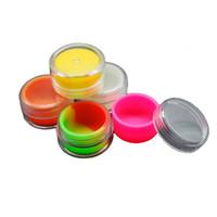 ingrosso acrylic vase-7ml contenitori concentrati in cera acrilica trasparente, contenitore in plastica con silcone interno in silicone antiaderente Dab BHO Hash olio secco vasi di stoccaggio alle erbe