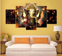 Wholesale Painted Trunk - Household adornment wall of the sitting room art hd print five trunk god modular posters pictures of ganesha